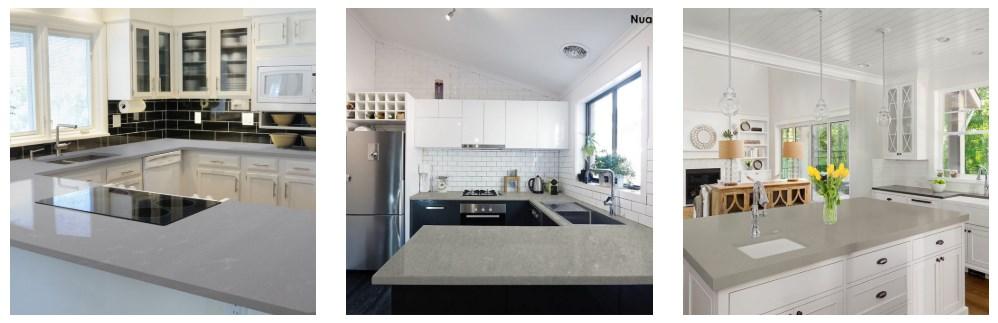 Sample of Pental quartz countertops for the kitchen.