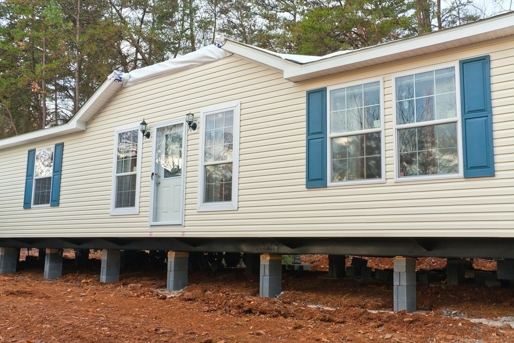 Pier and beam foundation on a mobile home.