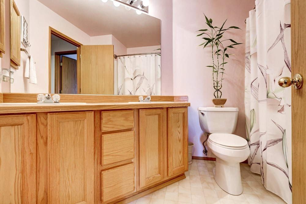 A tall potted plant sits on a toilet flanked by a walk-in shower that's enclosed in a printed shower curtain along with a natural wood vanity fitted with dual sink.