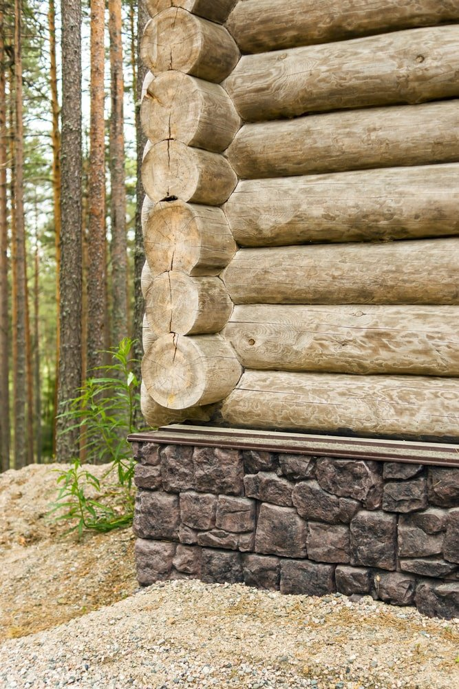 Loghouse with stone foundation