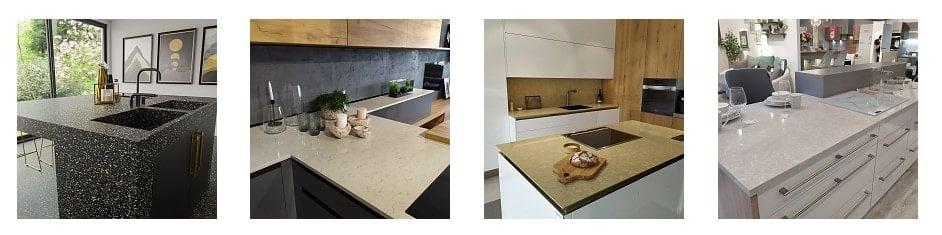 Sample of Technistone quartz countertops for the kitchen.