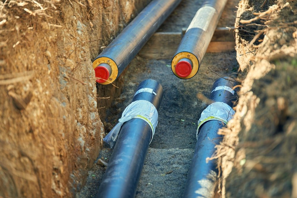 Insulated pipes for district heating.