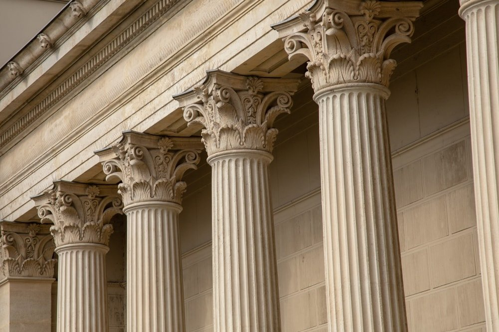 Vintage Old Justice Courthouse Columns
