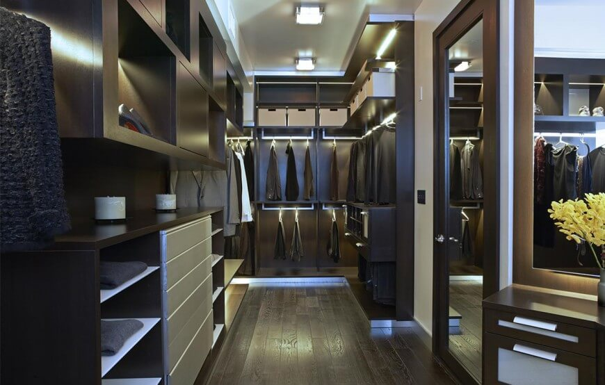 This walk-in closet showcases wide plank flooring and dark wood cabinets illuminated by stripped lights and recessed ceiling lights. It includes a wooden door that's fitted with a full-length mirror creating a larger visual space in the area.