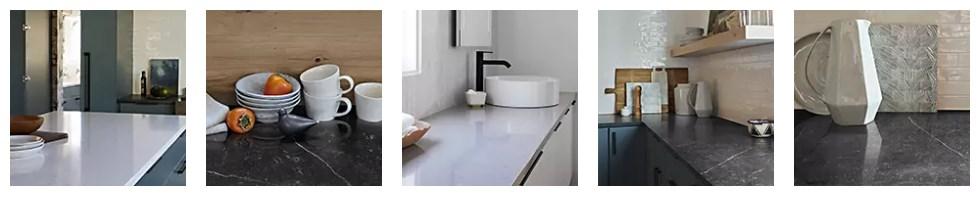 Sample of Wilsonart quartz countertops for the kitchen.