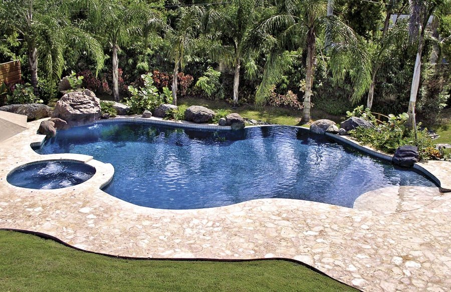 This backyard swimming pool with a jacuzzi stands out against the lush green lawn that's accented by towering palm trees and large stones laying on the pool deck.