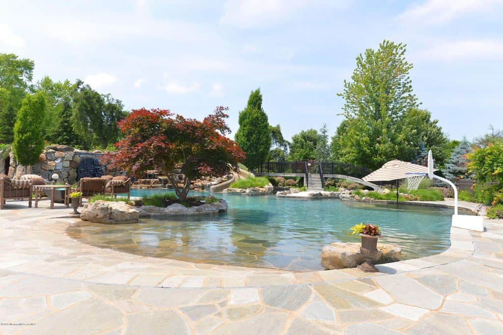 A backyard swimming pool with plenty of features including boulder waterfall and a concrete bridge framed with wrought iron railings. It also offers multiple seating and a basketball ring adding a perfect recreational activity for kids.