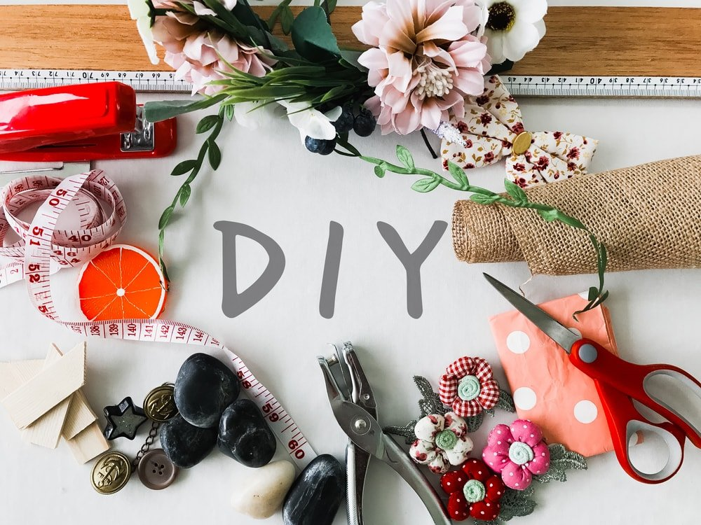 DIY crafts on the table.