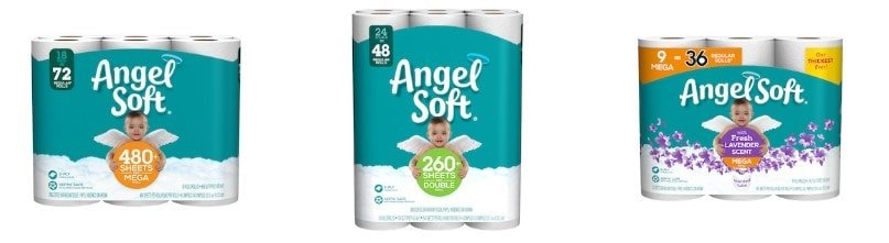 Sample products of Angel Soft toilet papers.