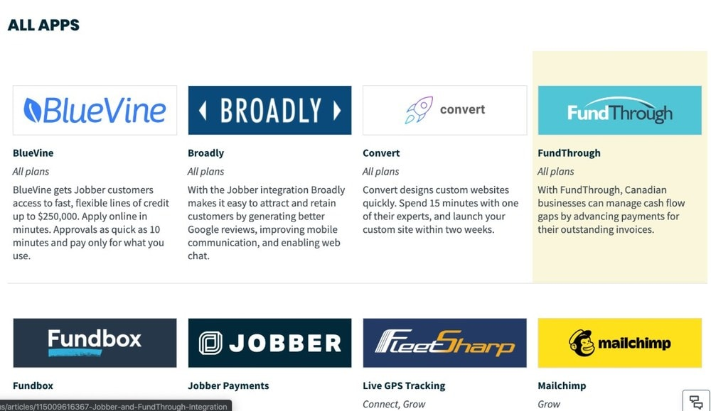 Screenshot of Jobber's Apps page.