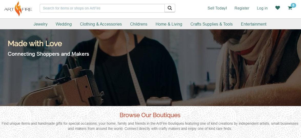 ArtFire homepage screenshot