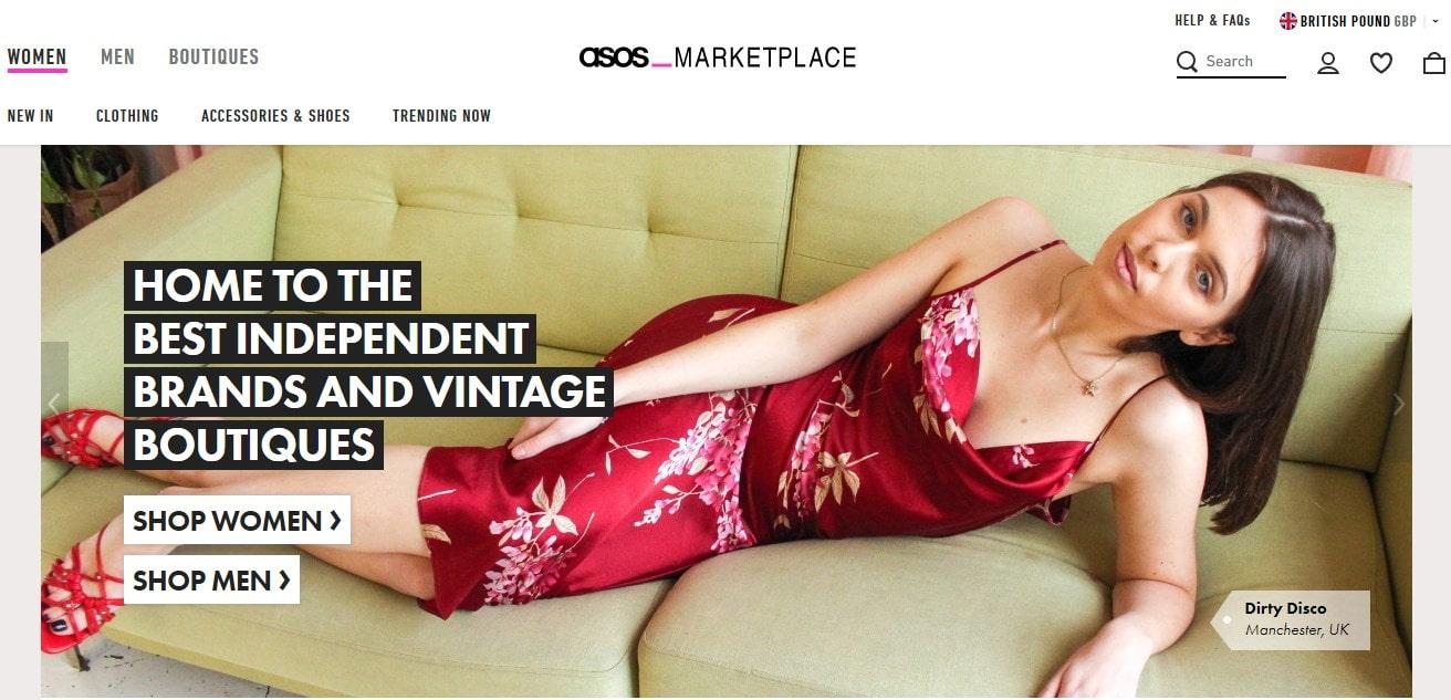 ASOS Marketplace homepage screenshot