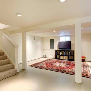 Basement interior with carpet flooring and an area rug.