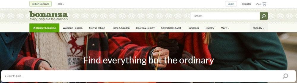 Bonanza homepage screenshot