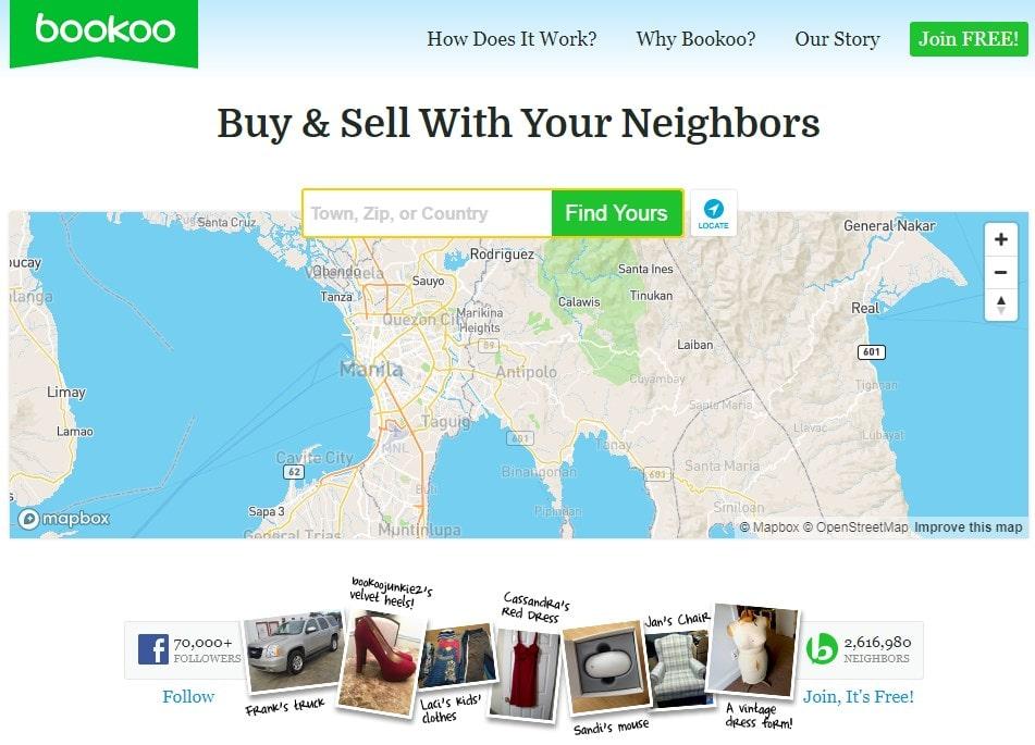 Bookoo homepage screenshot