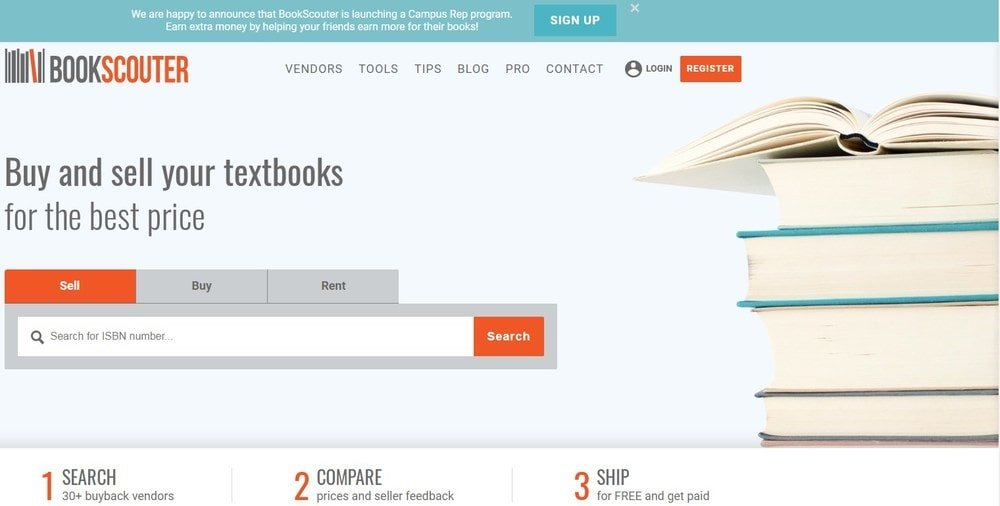 BookScouter homepage screenshot