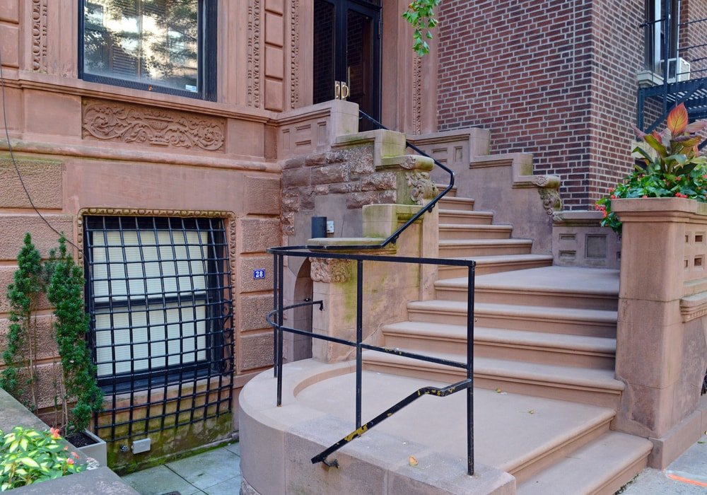 Brownstone apartment building in New York.