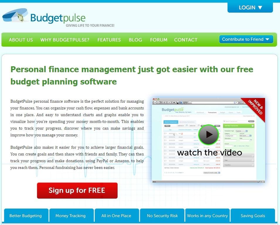 Homepage screenshot of the software BudgetPulse.