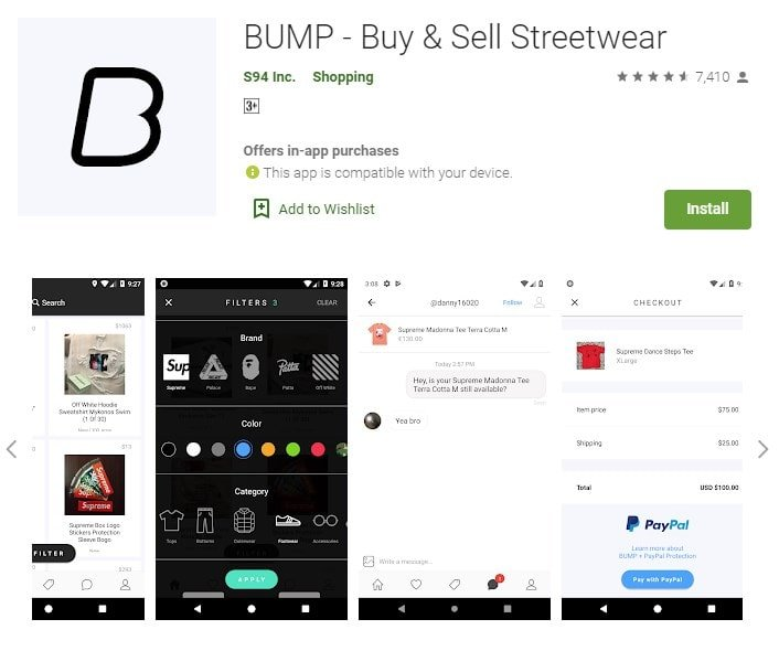 Screenshot of Bump on Google Play