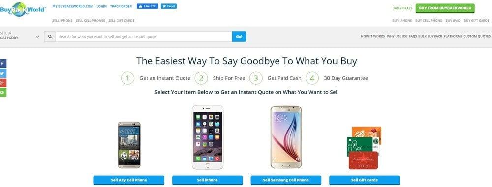 BuyBackWorld homepage screenshot