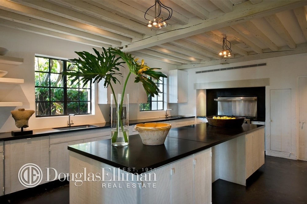 This is the kitchen with black countertops to match the dark flooring contrasted by the white cabinetry and the wooden ceiling.