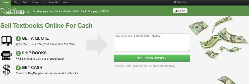 Cash4Books homepage screenshot