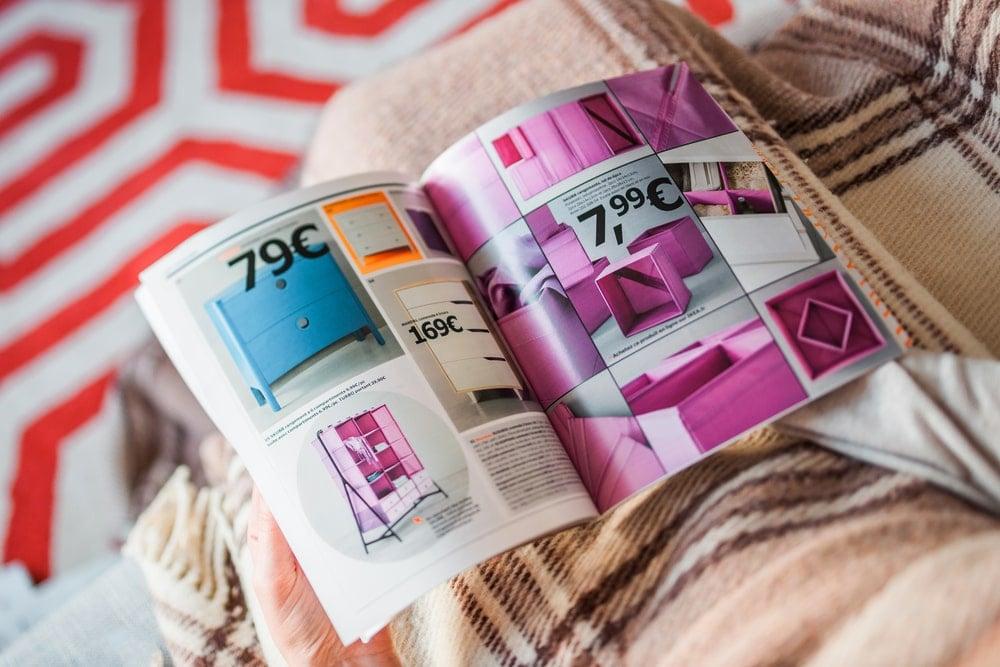 Reading a catalog.
