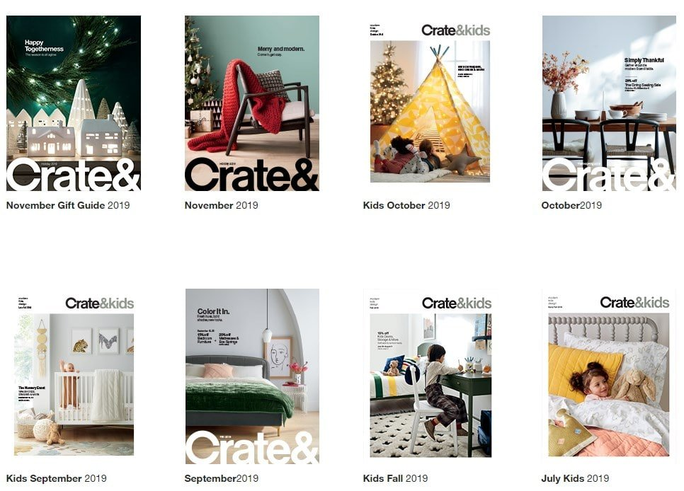Screenshot of Crate&Barrel catalogs