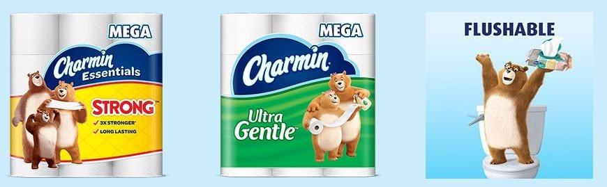 Sample products of Charmin toilet papers.
