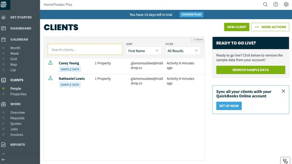 Screenshot of Jobber's Clients page.