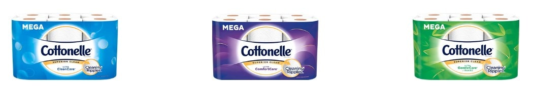 Sample products of Cottonelle toilet papers.