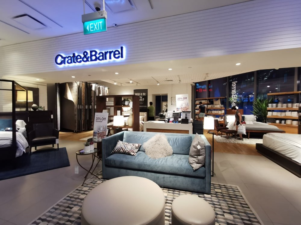 Crate&Barrel store interior at Orchard Central, Singapore.