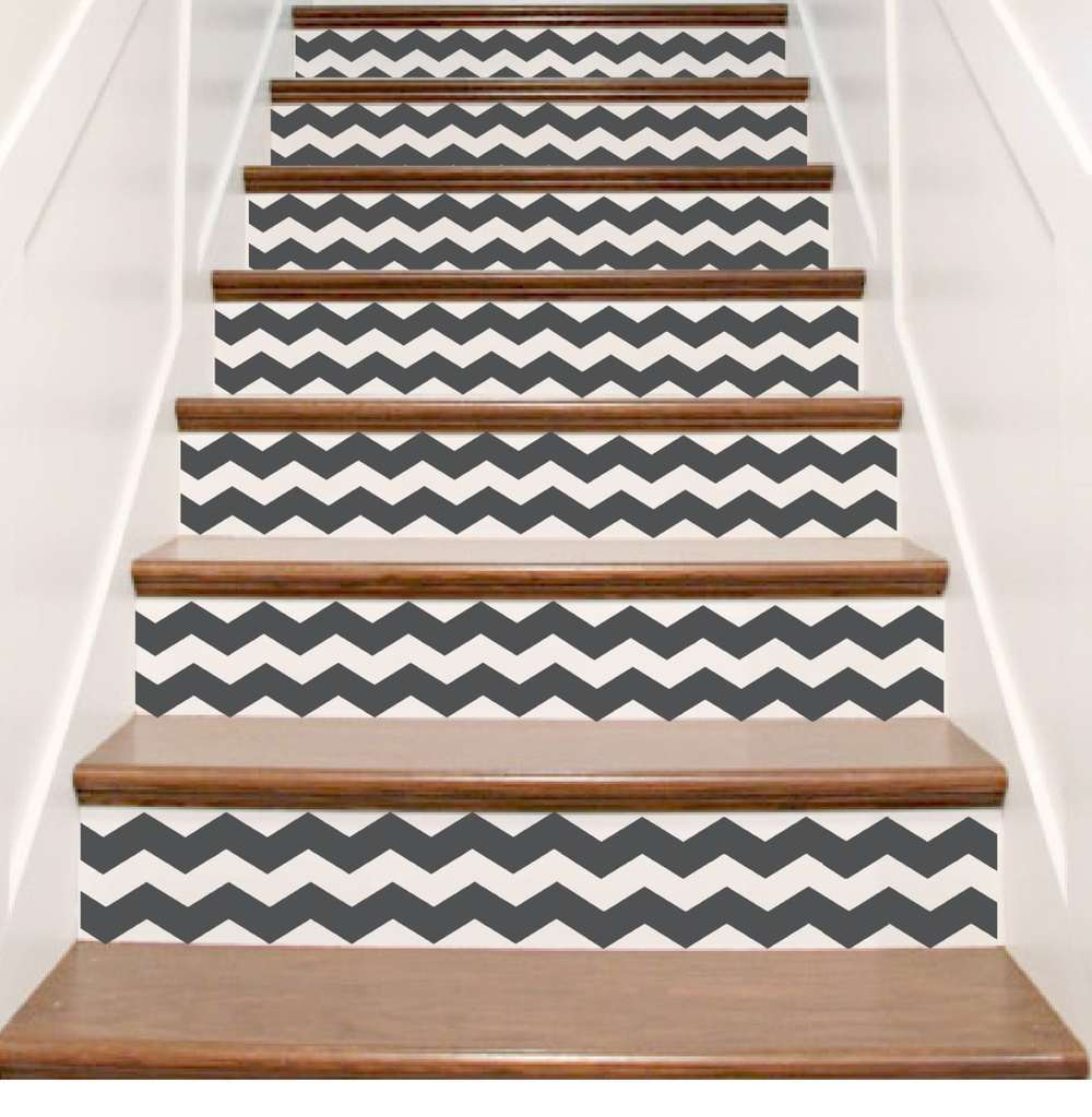 Crowbabys Chevron Vinyl Stair Riser Decals