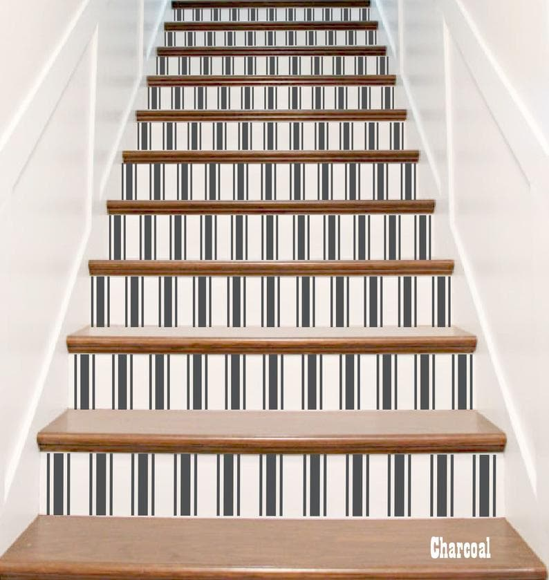 Crowbabys Fabric Stripes Vinyl Stair Riser Decals