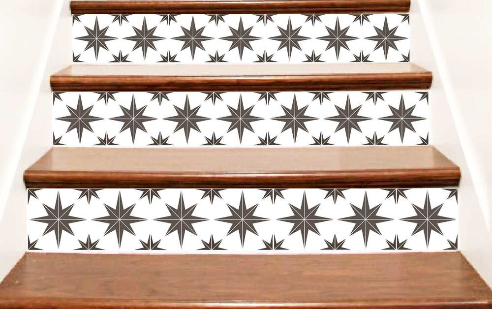 Crowbabys Starburst Style Vinyl Stair Riser Decals