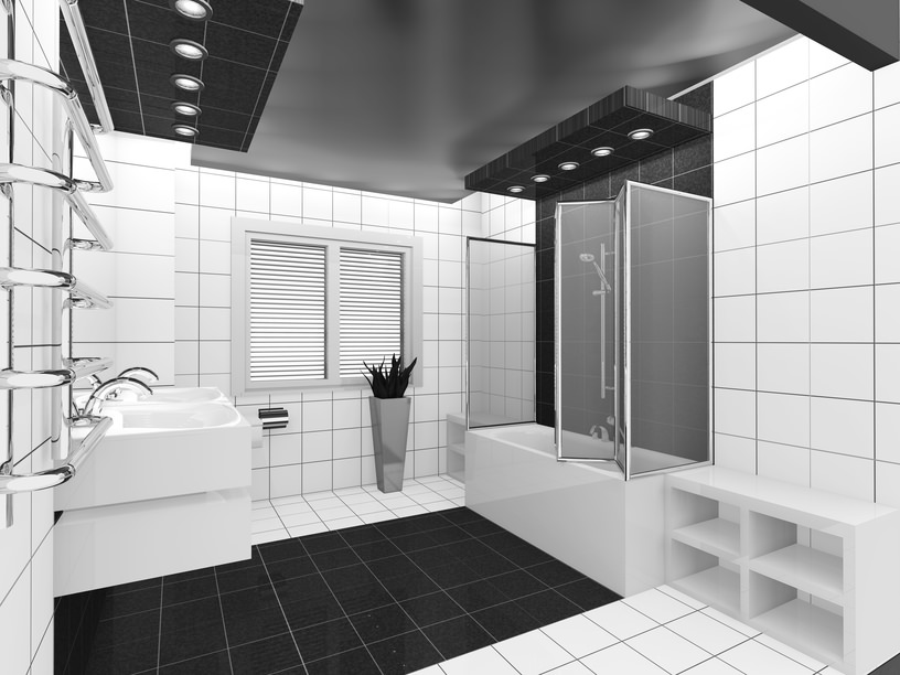 Modern primary bathroom with a custom ceiling with recessed lights, along with black and white tiles flooring. There's a floating double sink and a bathtub and shower combo on the side.