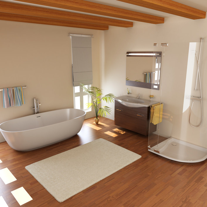Medium-sized primary bathroom featuring a ceiling with wooden beams along with hardwood flooring. This room offers a large freestanding soaking tub, a single sink counter and a walk-in shower booth.