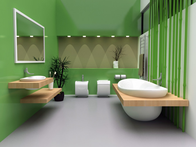 This primary bathroom offers a custom floating sink and a custom drop-in tub surrounded by green walls and gray flooring.
