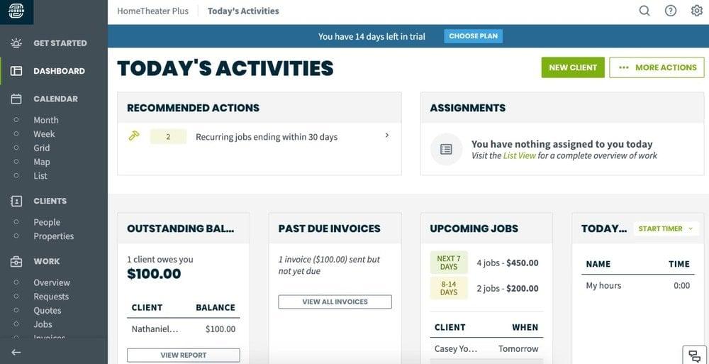 Screenshot of Jobber's Dashboard page.