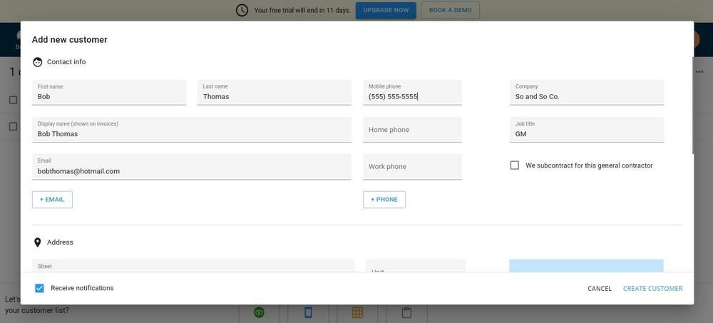 Housecall Pro Adding New Customer Screen