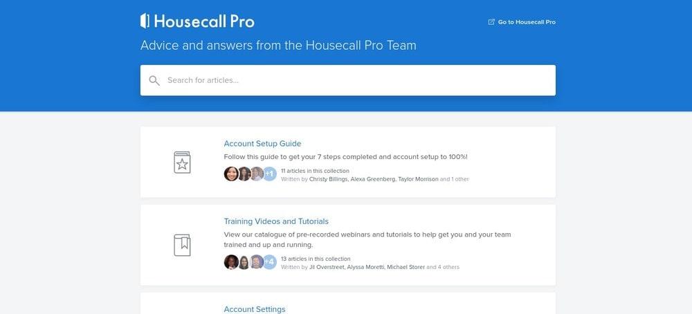 Housecall Pro Help Screen