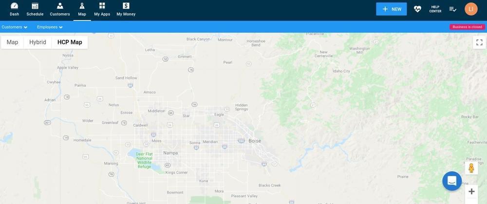 Housecall Pro Desktop Map Screen