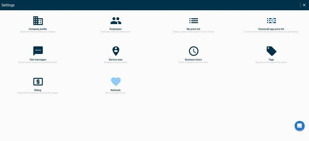 Housecall Pro Settings Screen