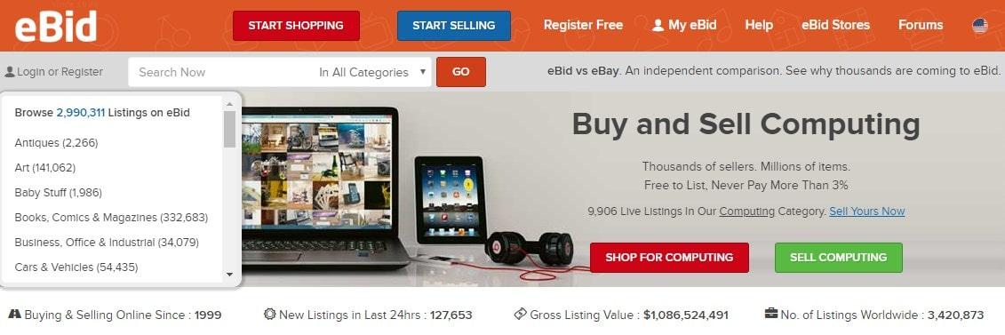 eBid homepage screenshot