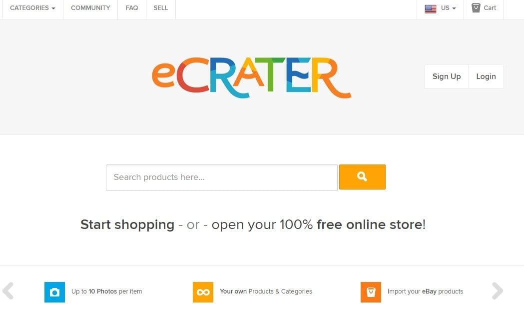 eCrater homepage screenshot