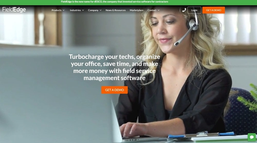 Screenshot of the homepage for FieldEdge.