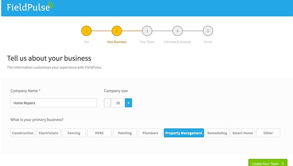 FieldPulse About Your Business Page