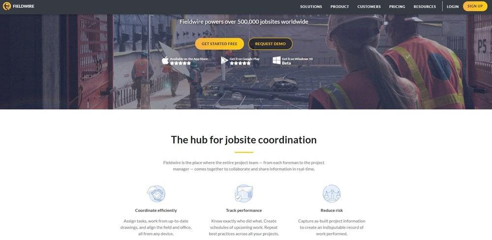 Fieldwire Website Homepage