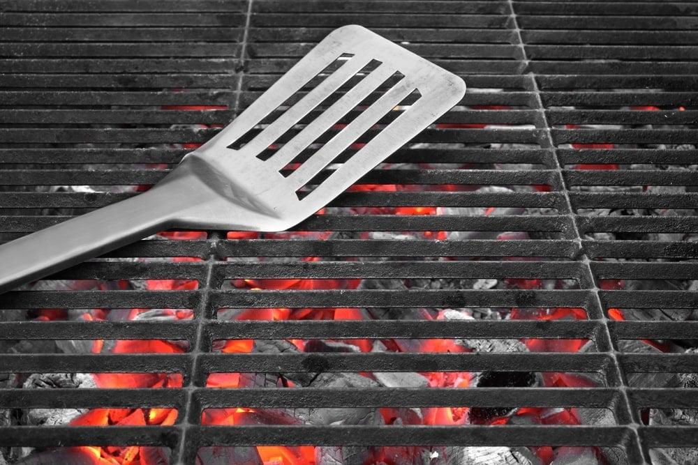 Flipper resting on a grill.