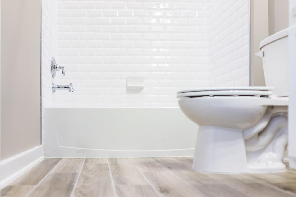 Bathroom with wood flooring.